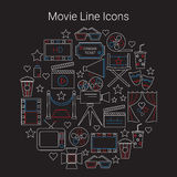 Movie Vector Line Icons. Set Circular Shaped Stock Photo