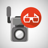 Movie video camera 3d glasses icon. Vector illustration eps 10 Royalty Free Stock Photos