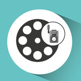 Movie video camera film reel icon. Vector illustration eps 10 Royalty Free Stock Image