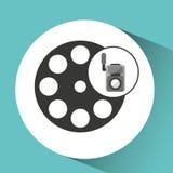 Movie video camera film reel icon Royalty Free Stock Image
