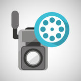 Movie video camera film reel icon. Vector illustration eps 10 Stock Photo