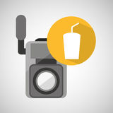 Movie video camera soda icon Stock Photography