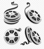 Movie video movie film disks with tape set. Movie video reel film disks with tape isolated. Set for cinematography. Motion picture production equipment icons set Stock Photos