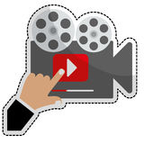 Movie or video related icon image. Film projector movie or video related icon image vector illustration design Royalty Free Stock Photo