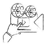 Movie or video related icon image. Film reel movie or video related icon image vector illustration design Royalty Free Stock Photo