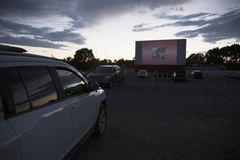 Movie viewers in car at Star Drive In Movie Theater, Montrose, Colorado, USA royalty free stock photography