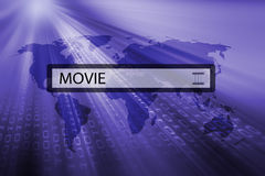 Movie written in search bar Stock Image