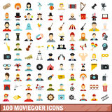 100 moviegoer icons set, flat style. 100 moviegoer icons set in flat style for any design vector illustration Stock Photography