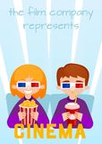 Moviegoers to the cinema  illustration. Stock Photo