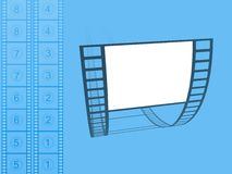 Movies. Illustration of Movie cells over a blue background Royalty Free Stock Photo