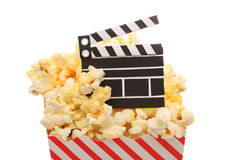 The Movies. A box of popcorn and a movie slate Stock Photos