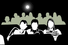 At the movies. Black and white illustration of three teenagers at the movies Royalty Free Stock Photography