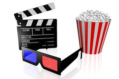Movies, cinema concept. 3D glasses, clapperboard, popcorn - great for topics like movie theater/ cinema, entertainment etc Stock Image