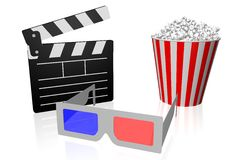 Movies, cinema concept. 3D glasses, clapperboard, popcorn - great for topics like movie theater/ cinema, entertainment etc Stock Photos