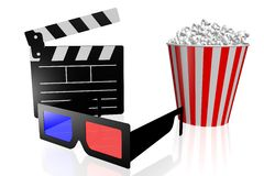 Movies, cinema concept. 3D glasses, clapperboard, popcorn - great for topics like movie theater/ cinema, entertainment etc Stock Images