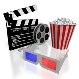 Movies, cinema concept. 3D glasses, movie reel, clapperboard, popcorn - great for topics like movie theater/ cinema, entertainment etc Stock Images
