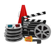Movies Cinema Concept. Isolated on white background. 3D render Stock Photo