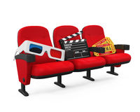 Movies Cinema Concept. Isolated on white background. 3D render Stock Image