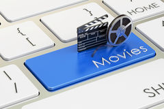 Movies concept on blue keyboard button, 3D rendering Royalty Free Stock Images