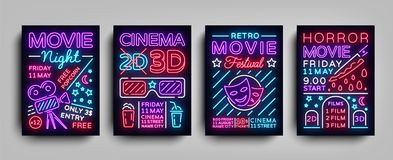 Movies 3d collection posters design templates in neon style. Set neon sign, light banner, bright flyer, design. Typography postcard, brochure, advertising neon vector illustration