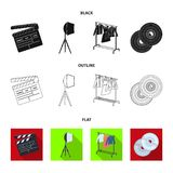 Movies, discs and other equipment for the cinema. Making movies set collection icons in black,flat,outline style vector. Symbol stock illustration Royalty Free Stock Photos