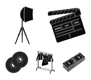 Movies, discs and other equipment for the cinema. Making movies set collection icons in black style vector symbol stock. Illustration Royalty Free Stock Image