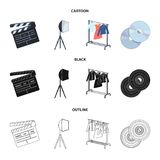Movies, discs and other equipment for the cinema. Making movies set collection icons in cartoon,black,outline style. Vector symbol stock illustration Royalty Free Stock Photos