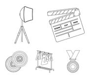 Movies, discs and other equipment for the cinema. Making movies set collection icons in outline style vector symbol. Stock illustration Stock Photography