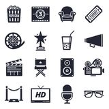 Movies and Events Icon Set. Movies and events theme, black and white icons Stock Images