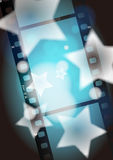 Movies film blue light background. Digital illustration Royalty Free Stock Images