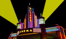 The Movies, Film, Cinema, Movie Theater. Nice concept for the movies, arts, cinema, or film. Seen here is a modern movie theater with a retro look. Or should we Royalty Free Stock Photography