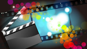 Movies film and Clapper board  background. Digital illustrations Stock Images