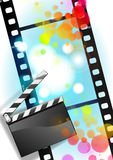 Movies film and Clapper board  background. With illustration Royalty Free Stock Images
