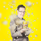 Movies man watching fall of cinema popcorn Stock Images