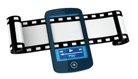 Movies and photos on portable device. One film strip passing across a cellphone (3d render Royalty Free Stock Photo