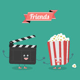 Movies and popcorn friends forever. Vector cartoon. Movies, cinema. Fast food Stock Photos