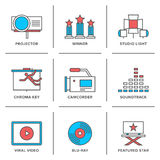 Movies production line icons set. Flat line icons set of cinema shooting, movie postproduction, award winner, soundtrack writing, viral video making. Modern Stock Photography