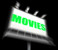 Movies Sign Displays Hollywood Entertainment and Picture Shows Stock Image