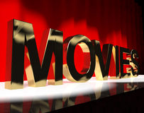 Movies Word On Stage Showing Cinema And Hollywood Royalty Free Stock Image