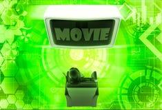 moview di sorveglianza della donna 3d sulla grande illustrazione della televisione Immagine Stock Libera da Diritti