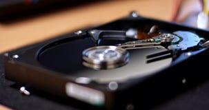 Movimentação aberta do disco rígido video estoque