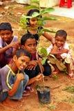Movimentação da plantação da árvore no dia de ambiente de mundo Fotografia de Stock Royalty Free