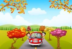 Movimentação das famílias no outono ilustração do vetor