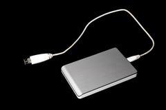 Movimentação de prata do disco rígido do USB do External foto de stock