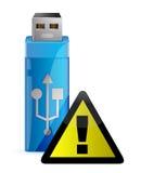 Movimentação do flash de USB do vetor com sinal de aviso Fotos de Stock Royalty Free