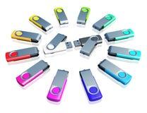 movimentação do usb da cor 3d Imagem de Stock