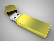 Movimentação luxuosa do flash de USB do ouro Foto de Stock