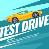 Movimentação moderna do teste do cartaz com o carro ilustração stock