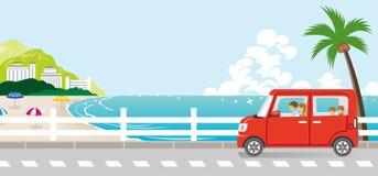 Movimentação na rua do beira-mar - família do verão ilustração stock