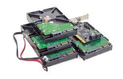 Movimentações de disco rígido, cartão de controlador do disco e cabos Imagens de Stock Royalty Free